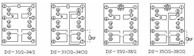 不带滑动触点的继电器其内部接线同